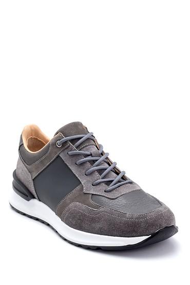 Gri Erkek Süet Detaylı Deri Sneaker 5638255758