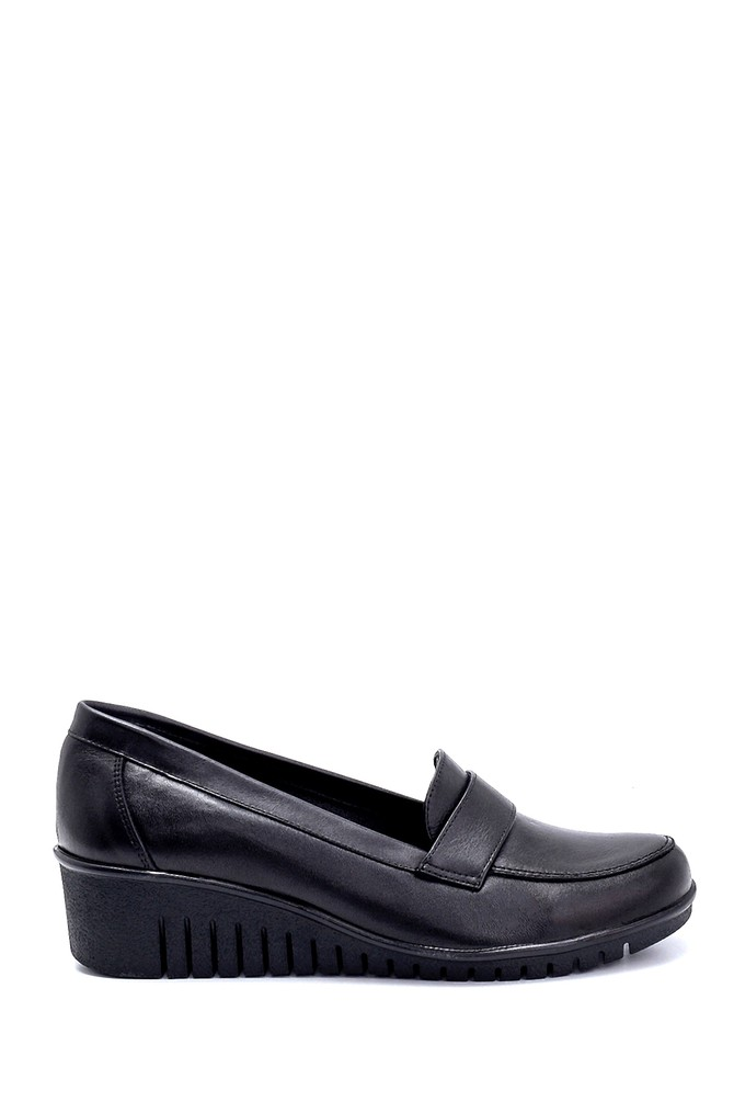 Siyah Kadın Deri Dolgu Topuk Ayakkabı 5638260631