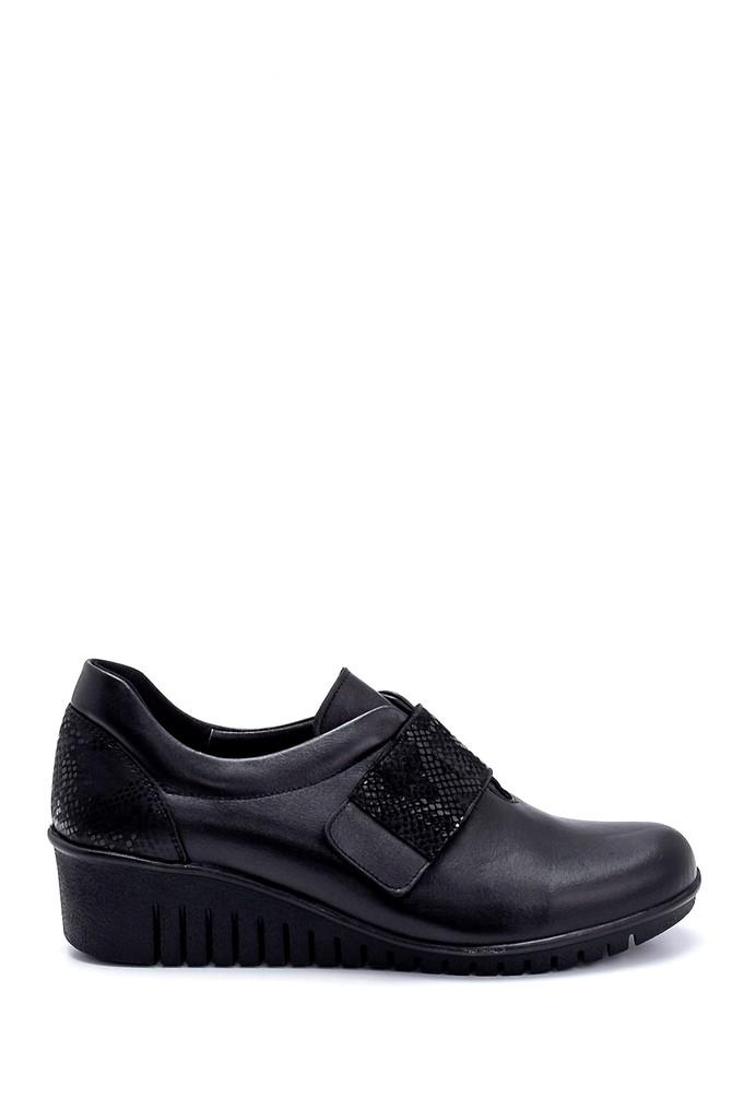 Siyah Kadın Deri Dolgu Topuk Ayakkabı 5638260637