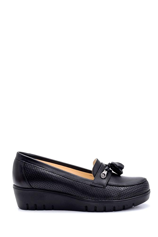 Siyah Kadın Deri Dolgu Topuk Ayakkabı 5638265455