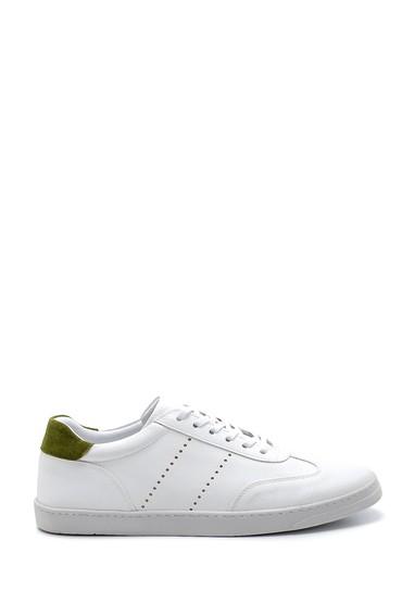 Beyaz Erkek Süet Detaylı Deri Sneaker 5638276182