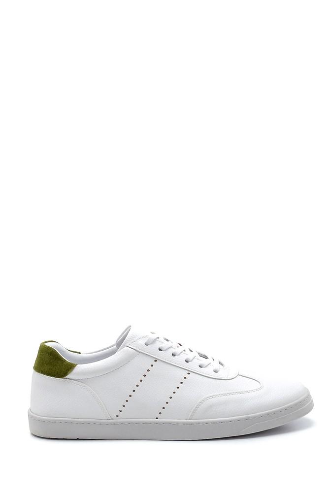 Beyaz Erkek Süet Detaylı Deri Sneaker 5638276202