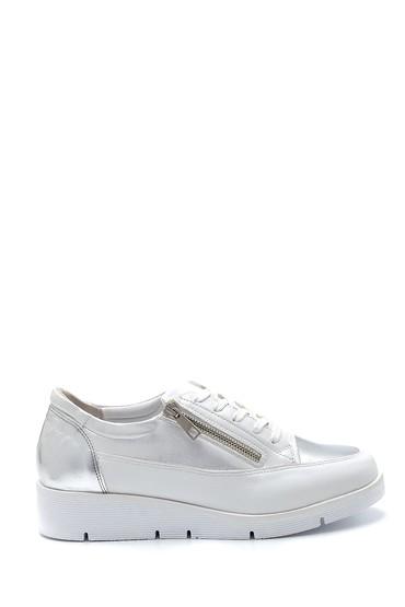 Beyaz Kadın Fermuar Detaylı Sneaker 5638276252