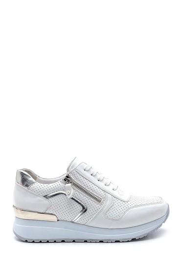 Beyaz Kadın Fermuar Detaylı Sneaker 5638276264