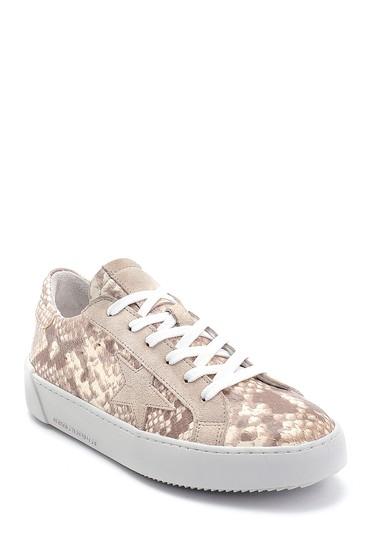 Bej Kadın Yılan Derisi Desenli Sneaker 5638259793