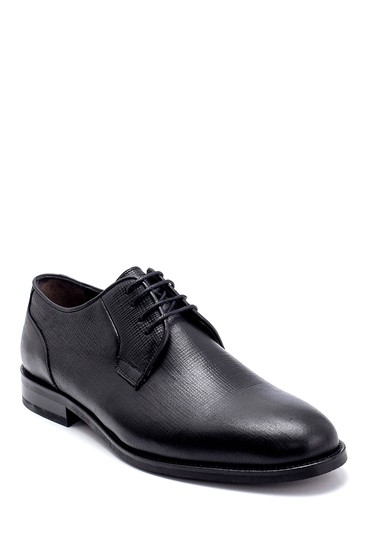 Siyah Erkek Deri Baskılı Klasik Ayakkabı 5638247542