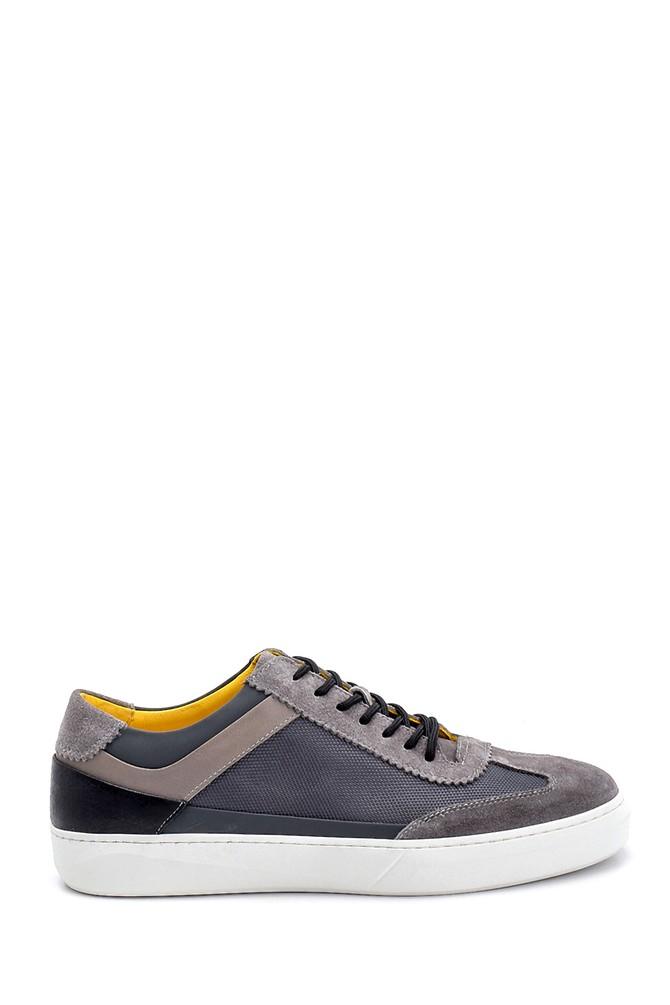Gri Erkek Süet Detaylı Deri Sneaker 5638253082