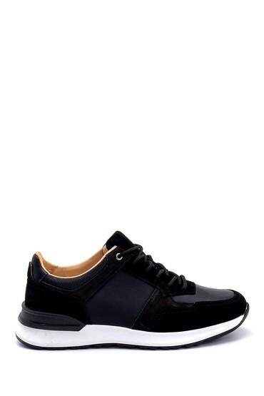 Siyah Erkek Süet Detaylı Deri Sneaker 5638255741