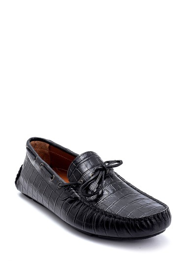 Siyah Erkek Deri Kroko Desenli Loafer 5638265852