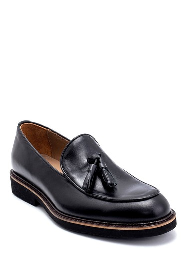 Siyah Erkek Deri Püskül Detaylı Loafer 5638275227