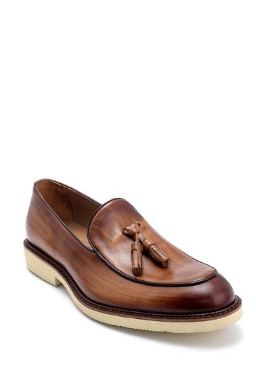 Kahverengi Erkek Deri Püskül Detaylı Loafer 5638275226