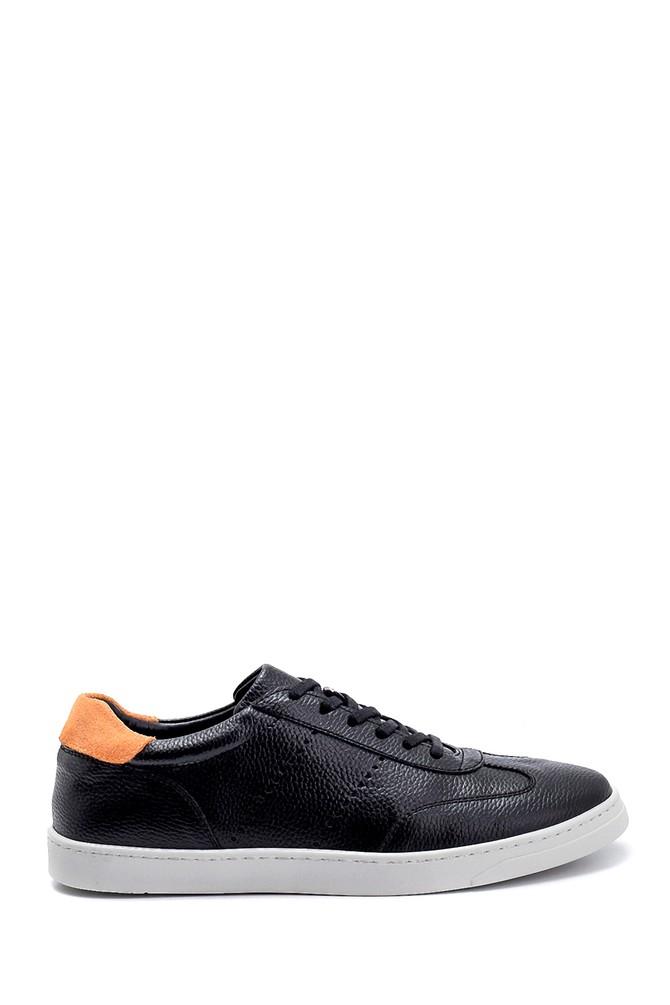Siyah Erkek Süet Detaylı Deri Sneaker 5638276192