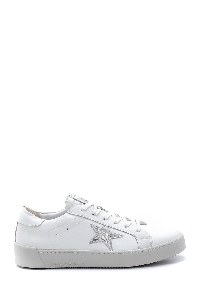 Beyaz Kadın Deri Yıldız Detaylı Sneaker 5638259805