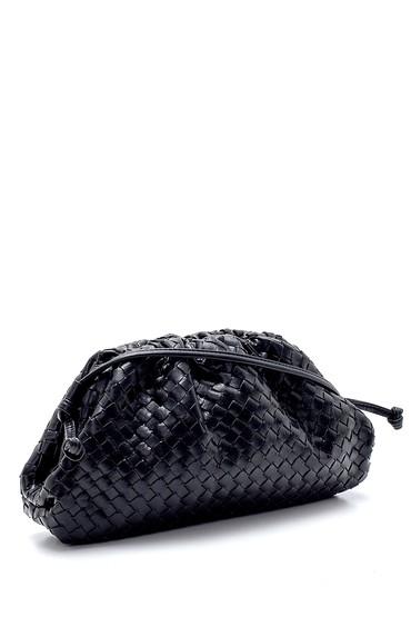 Siyah Kadın Örgü Detaylı Omuz Çantası 5638232178