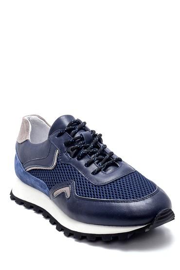 Lacivert Erkek Deri Sneaker 5638253354