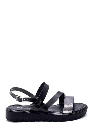 Siyah Kadın Deri Sandalet 5638255328