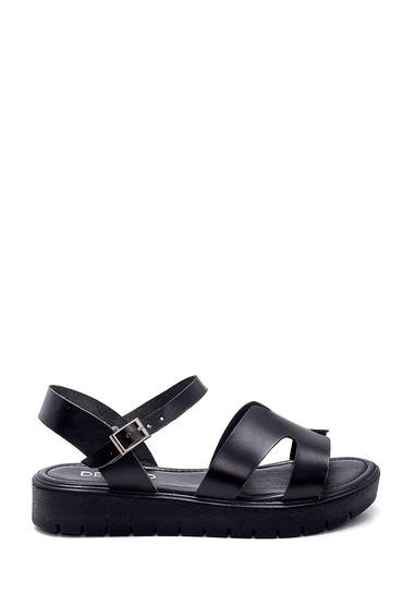 Siyah Kadın Deri Sandalet 5638255496