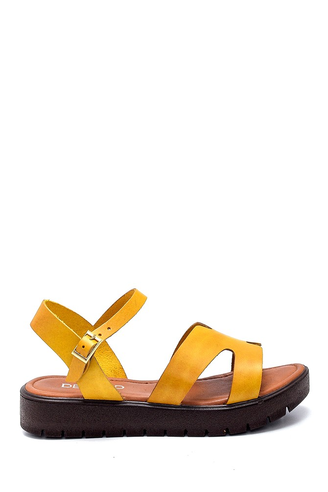 Sarı Kadın Deri Sandalet 5638255527