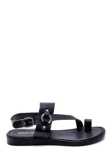 Siyah Kadın Deri Sandalet 5638255590