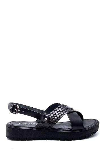 Siyah Kadın Deri Sandalet 5638255617