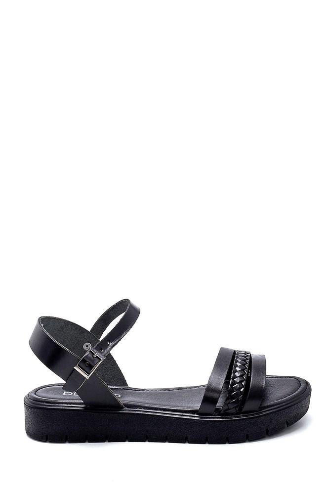 Siyah Kadın Deri Sandalet 5638255636