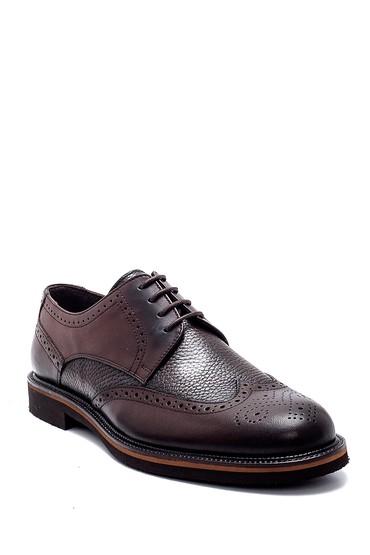 Kahverengi Erkek Deri Kroko Desenli Ayakkabı 5638256879