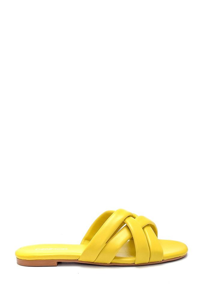 Sarı Kadın Deri Terlik 5638260990