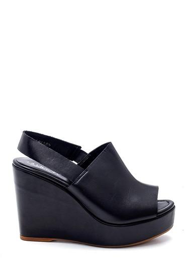 Siyah Kadın Deri Dolgu Topuk Sandalet 5638282450