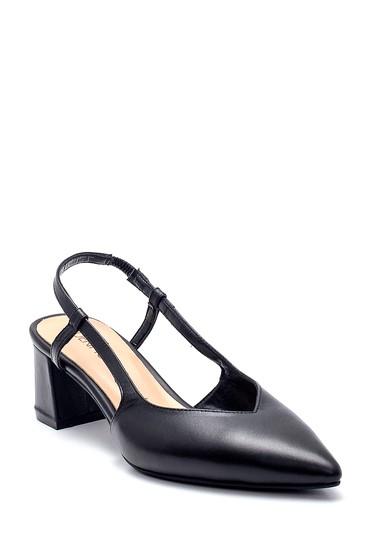 Siyah Kadın Deri Kalın Topuklu Ayakkabı 5638282471