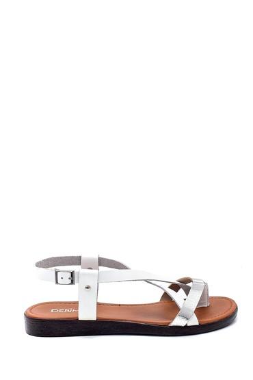 Beyaz Kadın Deri Sandalet 5638255412