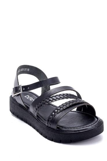 Siyah Kadın Deri Sandalet 5638255463