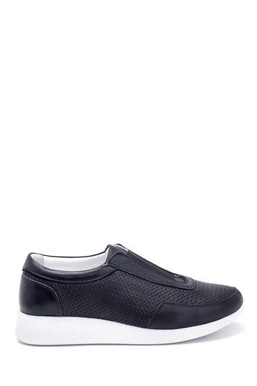 Siyah Kadın Deri Sneaker 5638265711