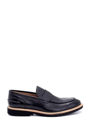 Siyah Erkek Deri Baskı Detaylı Ayakkabı 5638275327