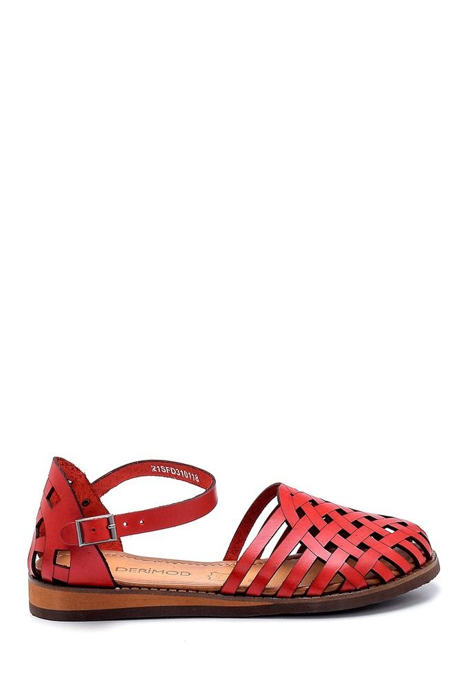 Kırmızı Kadın Deri Sandalet 5638273375