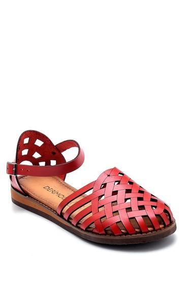 Kırmızı Kadın Deri Sandalet 5638273386