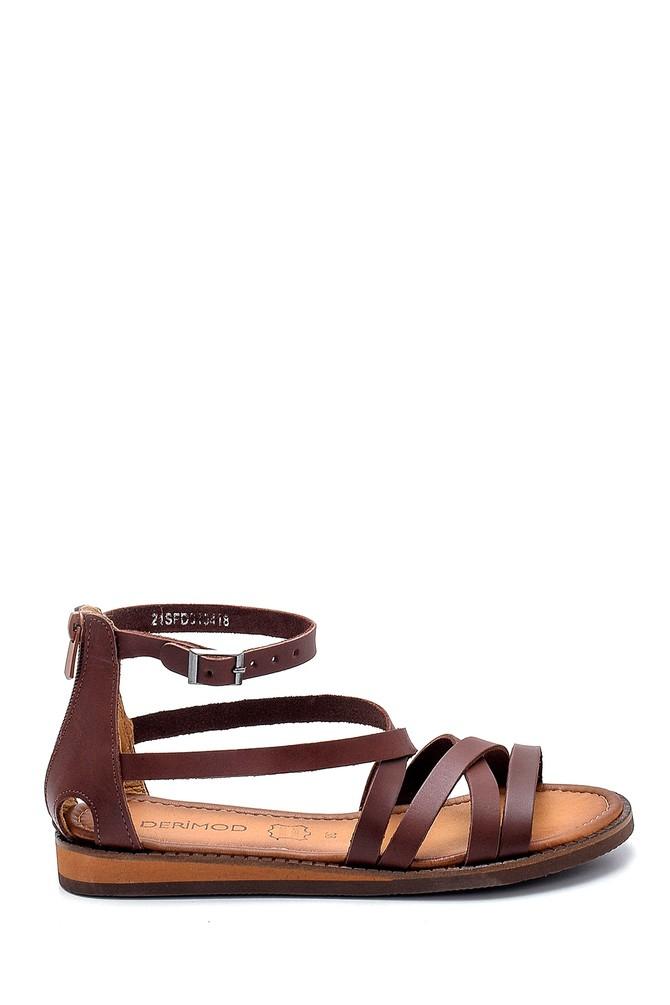 Kahverengi Kadın Deri Sandalet 5638274828
