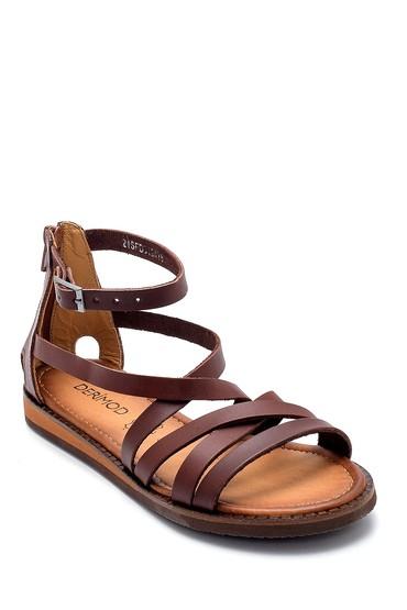 Kahverengi Kadın Deri Sandalet 5638274843