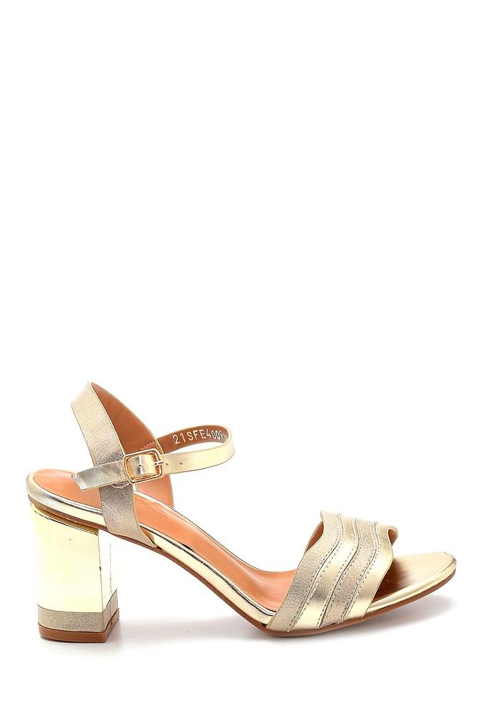 Altın Kadın Topuklu Sandalet 5638271773