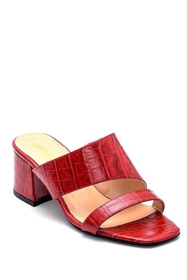 Kırmızı Kadın Deri Topuklu Terlik 5638291488