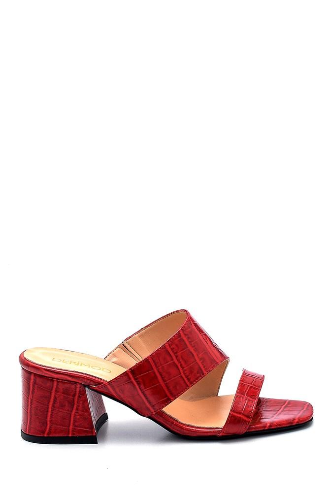 Kırmızı Kadın Deri Topuklu Terlik 5638291472