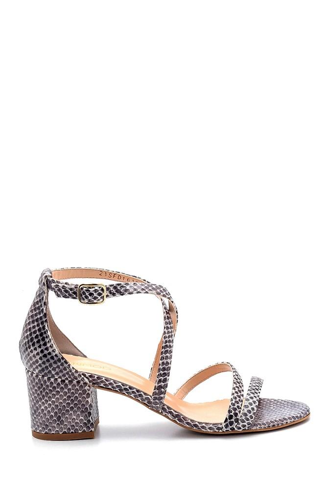 Lacivert Kadın Deri Yılan Derisi Detaylı Topuklu Sandalet 5638291528