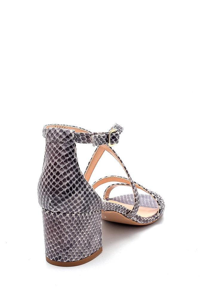 5638291528 Kadın Deri Yılan Derisi Detaylı Topuklu Sandalet
