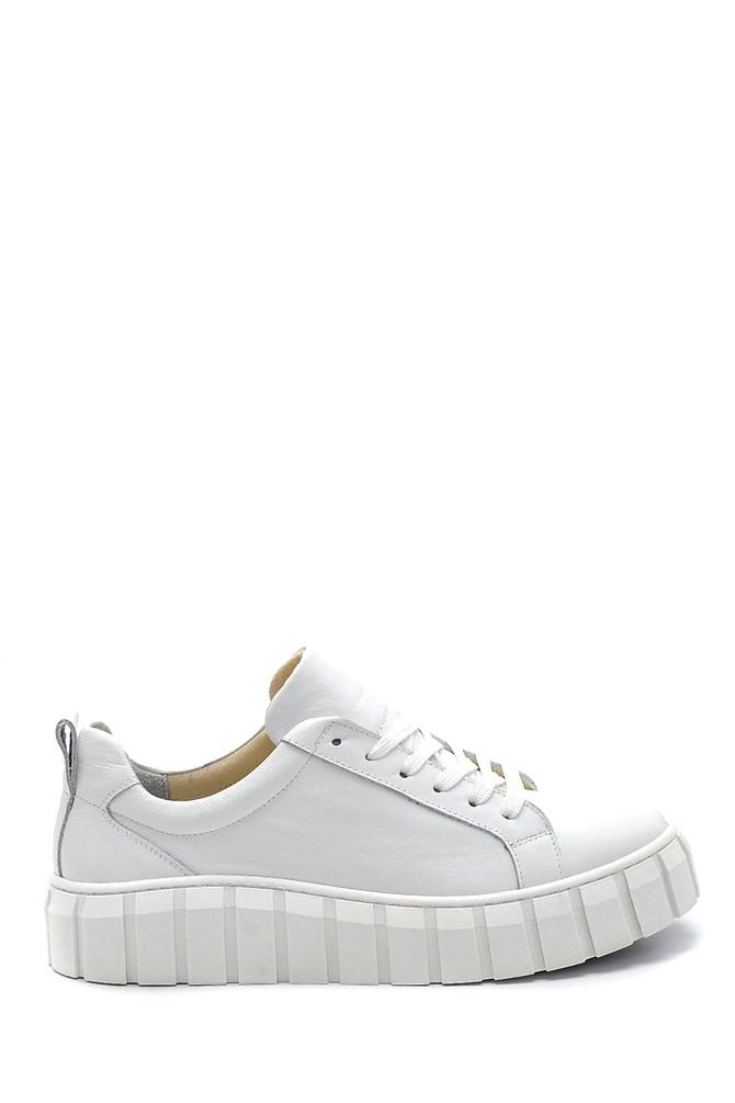 Beyaz Kadın Deri Sneaker 5638273017