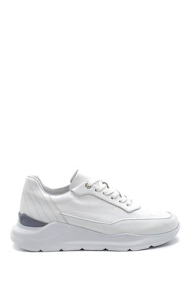 Beyaz Erkek Kroko Desenli Sneaker 5638275807