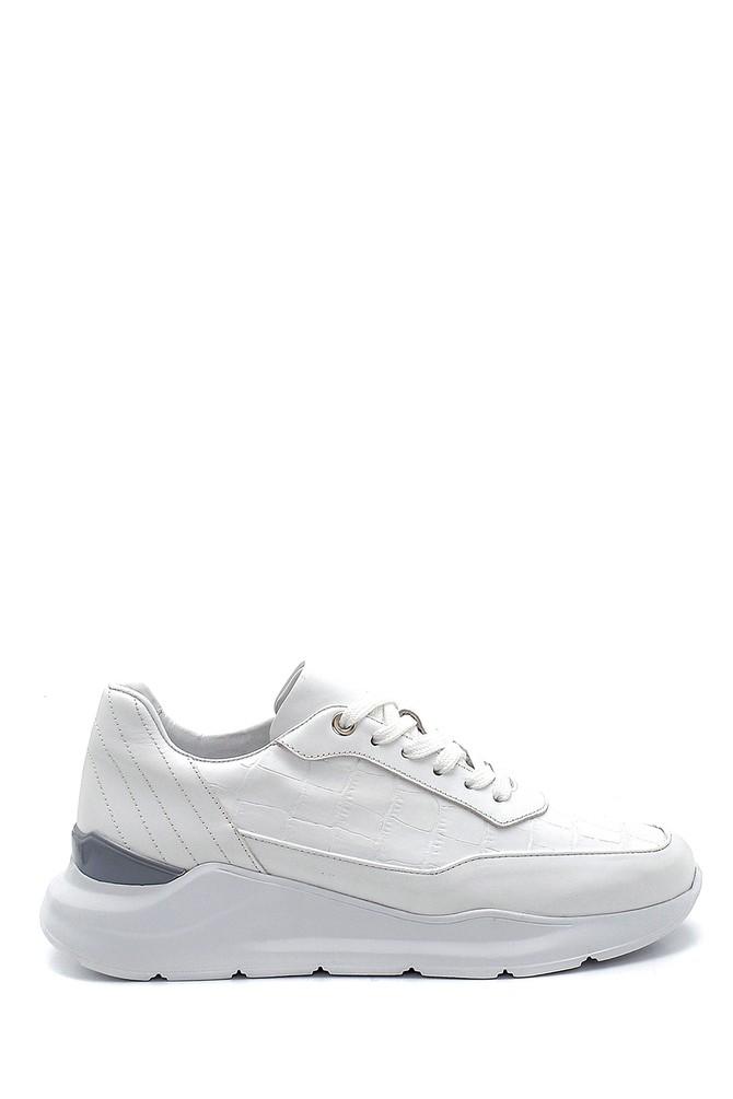 Beyaz Erkek Kroko Desenli Sneaker 5638275819