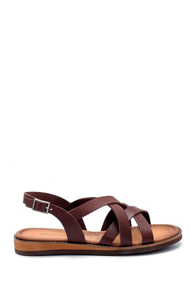Kahverengi Kadın Deri Sandalet 5638273301