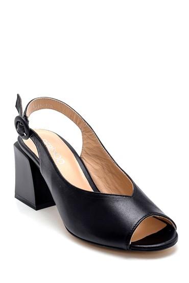 Siyah Kadın Deri Topuklu Sandalet 5638260882