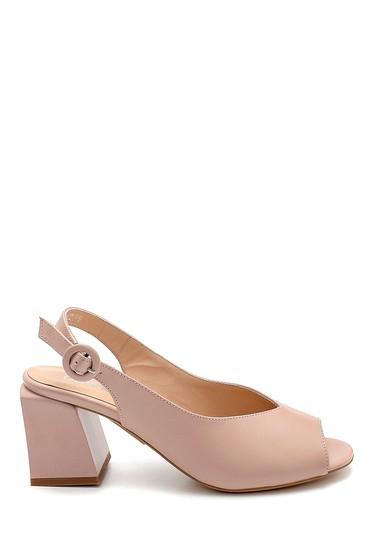 Pudra Kadın Deri Topuklu Sandalet 5638260884