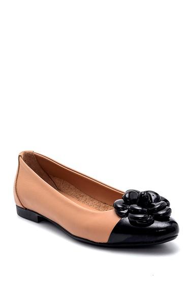 Siyah Kadın Deri Çiçek Detaylı Babet 5638266014