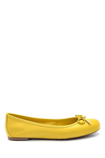 Sarı Kadın Deri Fiyonk Detaylı Babet 5638266067